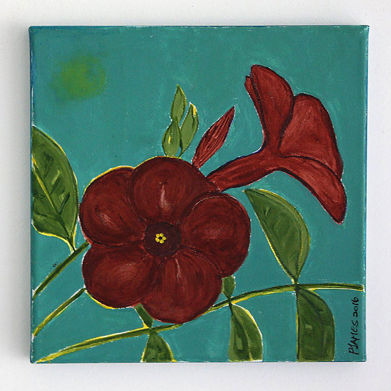 "Mandevilla 10"" x 10"" Acrylic on stretched canvas"