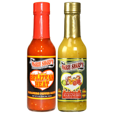 Marie Sharp's BELIZEAN HEAT and GRAPEFRUIT PULP Habanero Pepper Sauce 5oz Combo (Pack of 2)