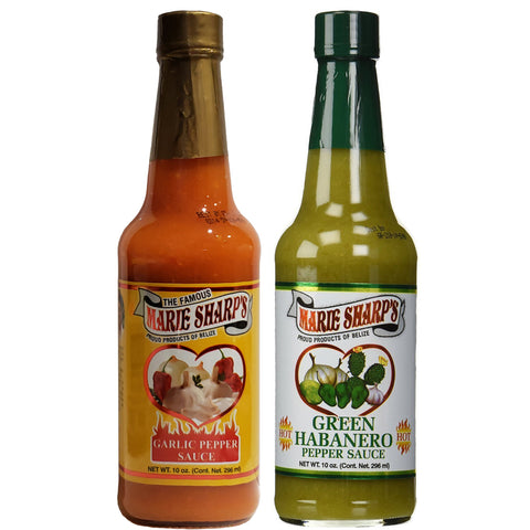 Marie Sharp's Garlic and Green Habanero Pepper Sauce 10 Ounce (Pack of 2)