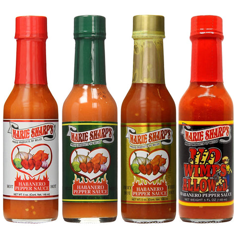 Marie Sharp's Hot Mild Fiery No Wimps Allowed Sauce 5 Ounce (Pack of 4)