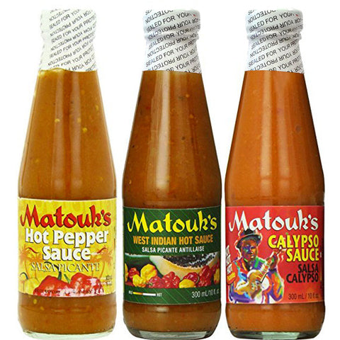Matouk's Hot Sauce 10oz Combo-Calypso, West Indian & Hot Pepper Sauce (Pack of 3)