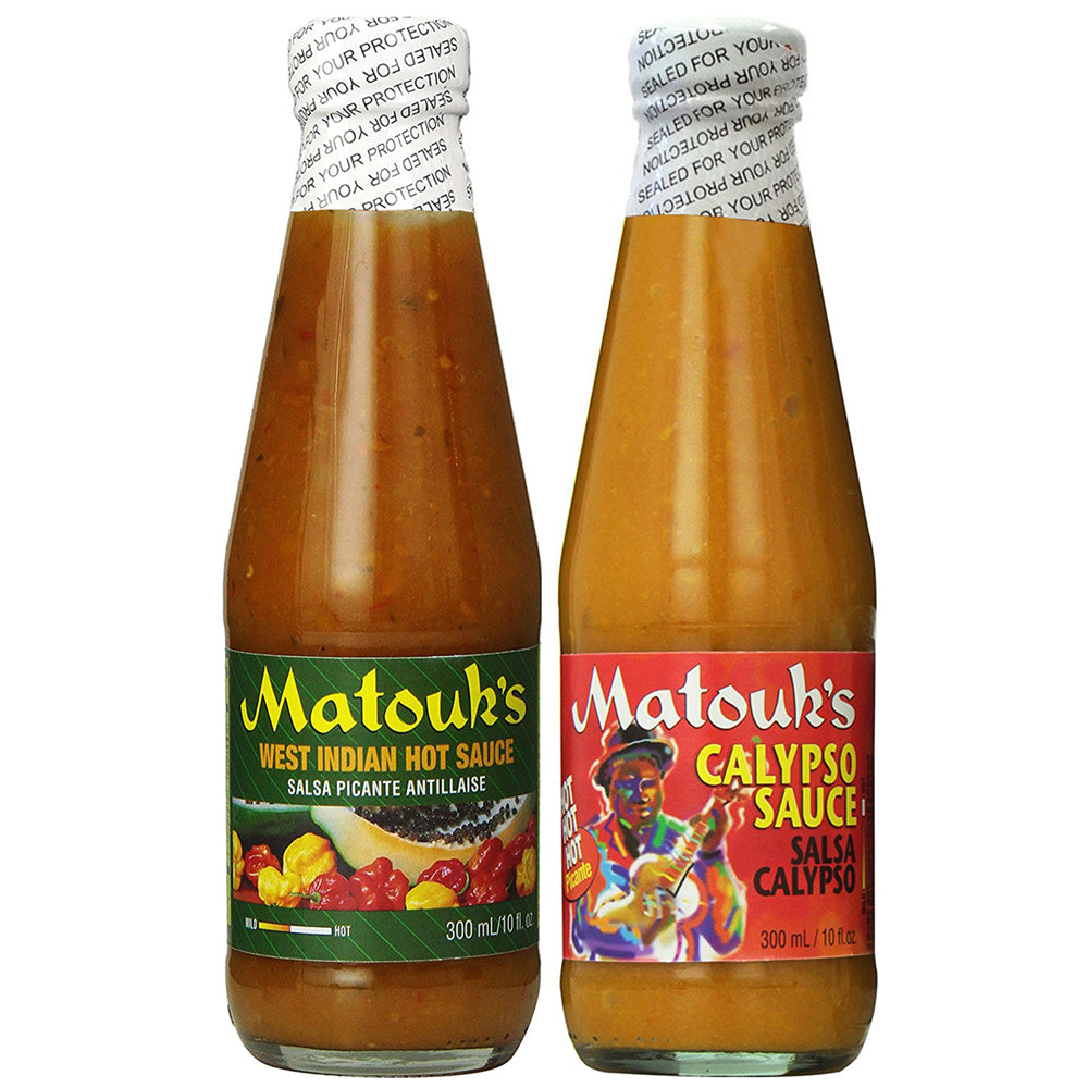Matouk's West Indian & Calypso Pepper Sauce 10oz Combo (Pack of 2)