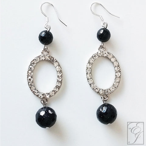 Navy and Crystal Drop Earrings 1