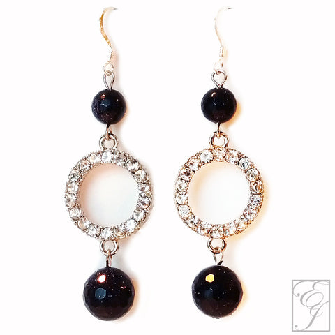 Navy and Crystal Drop Earrings 2