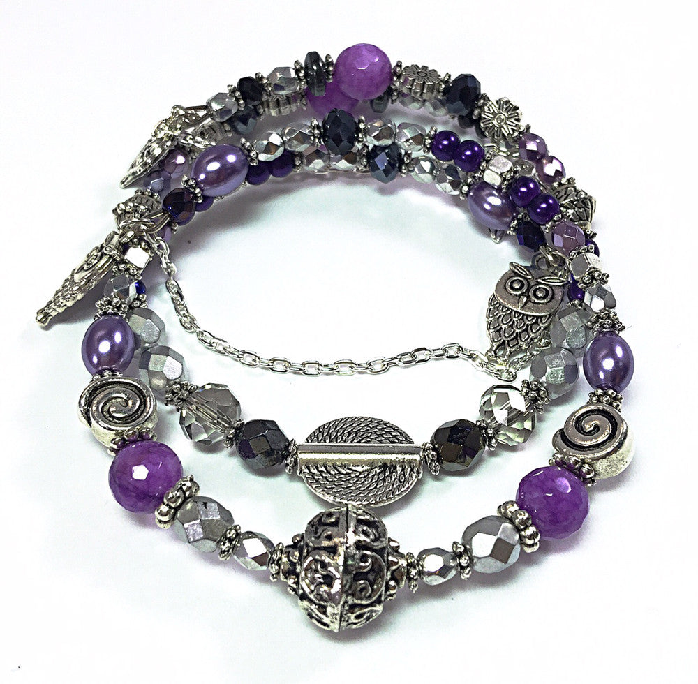 Purple and Silver Bracelet Pair Bracelet