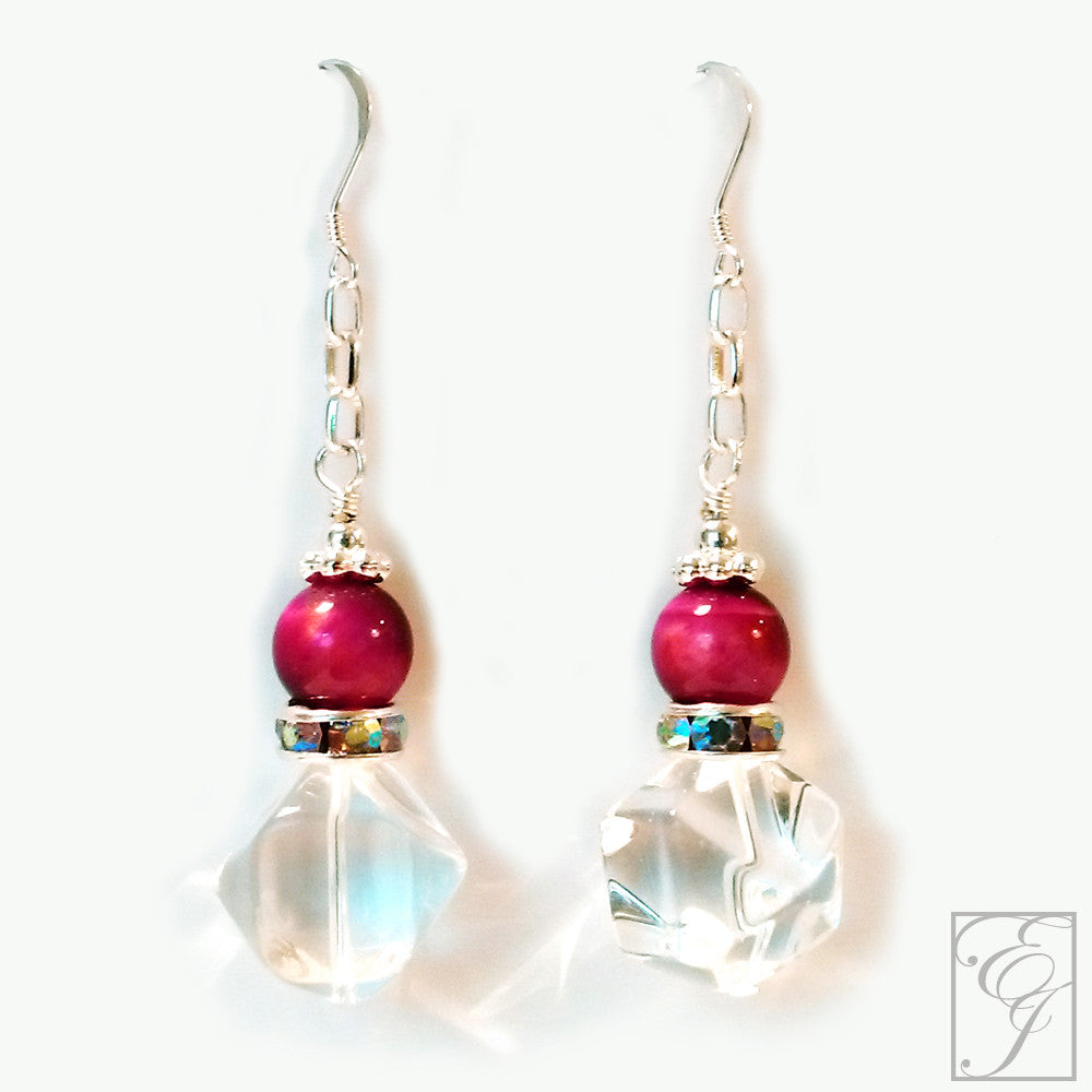 Crystal Quartz and Pink Tiger Eye Drop Earrings