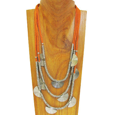 Rikki Faux Silver and Orange Nylon Beaded Handmade Necklace 22 inches