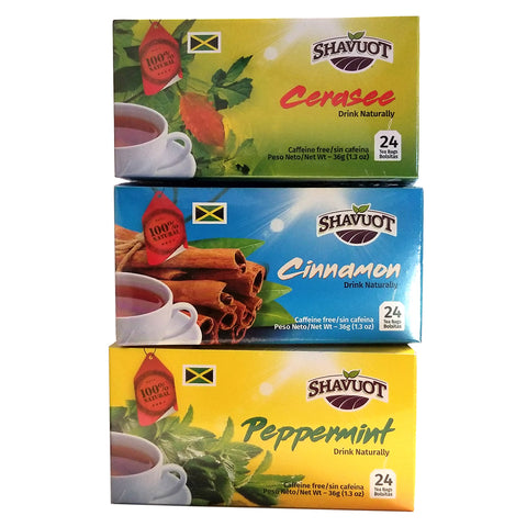 Shavuot 100% Natural Jamaican Cerasee Cinnamon Peppermint Tea 24 Bags Variety Combo (Pack of 3)