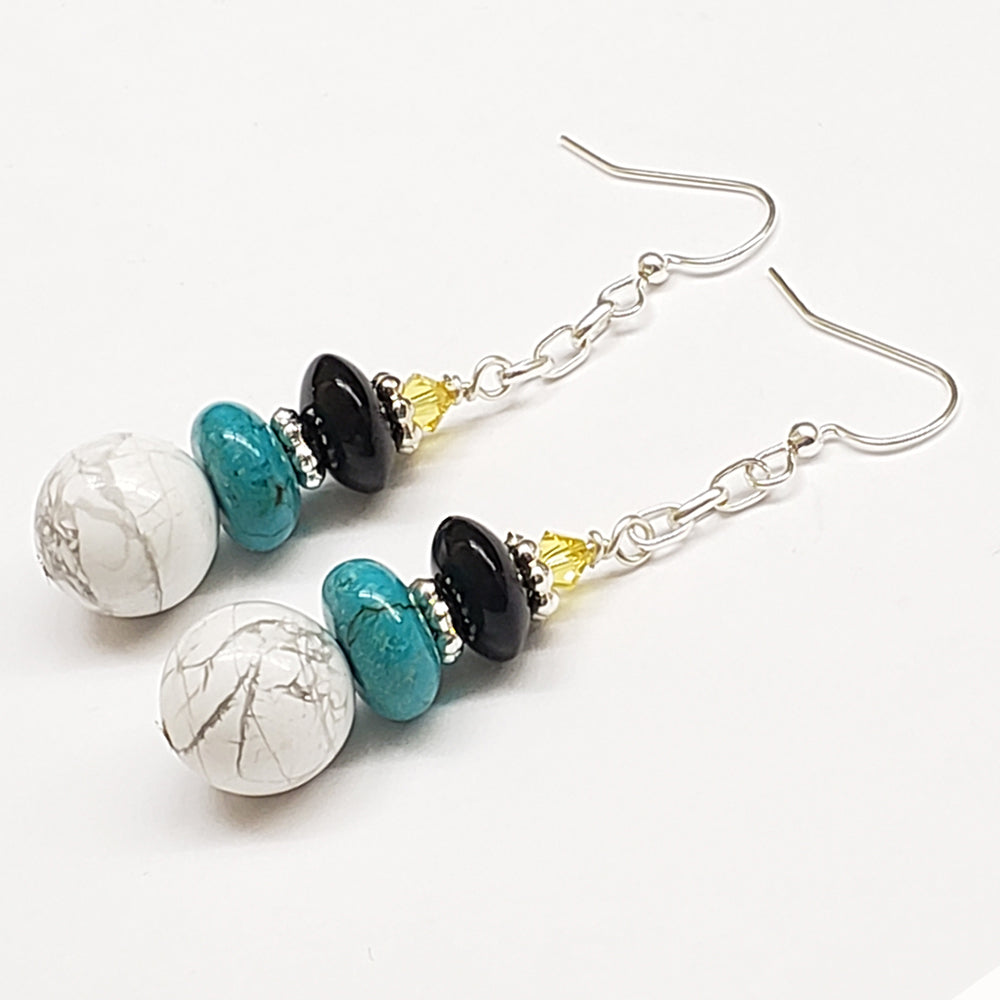 St. Lucia-Inspired White Howlite Turquoise Black Glass Earrings with Silver tone chain and Findings