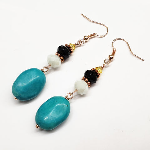 St. Lucia-Inspired Turquoise Onyx Crystal Earrings with Rose Gold Findings