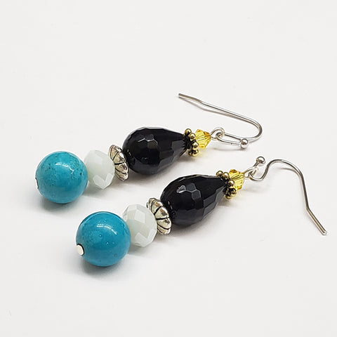 St. Lucia-Inspired Turquoise Faceted Onyx Crystal Earrings with Silver tone Findings
