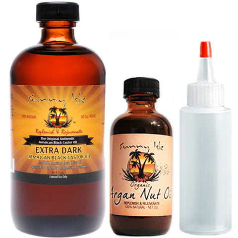 Sunny Isle Jamaican Black Castor Oil Extra Dark and Argan Combo