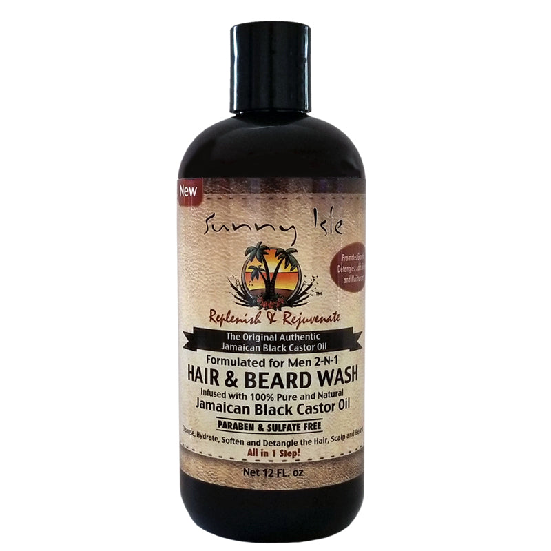 Sunny Isle Jamaican Black Castor Oil 2-N-1 Hair & Beard Wash Formulated Just for Men 12oz
