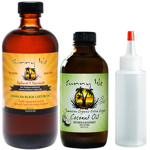 Sunny Isle Jamaican Black Castor Oil 8oz and Organic Coconut Oil 4oz Combo