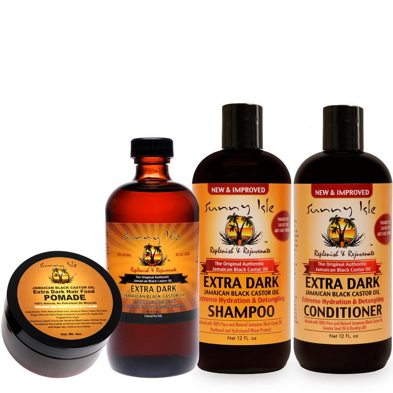 Sunny Isle NEW and IMPROVED EXTRA DARK Jamaican Black Castor Oil Hair Care Kit