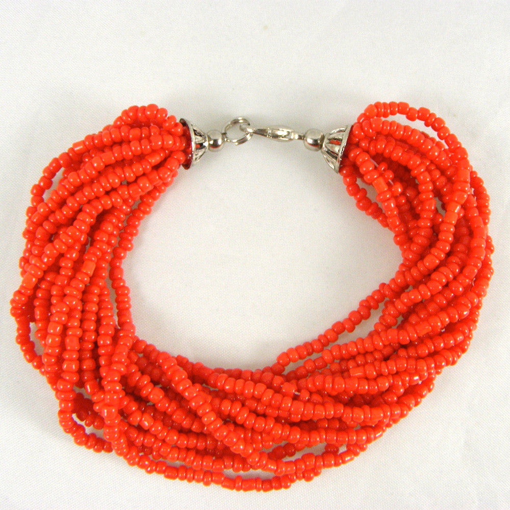 Tibetan RED CORAL Loose Beads Bracelet with silver tone finish 8""