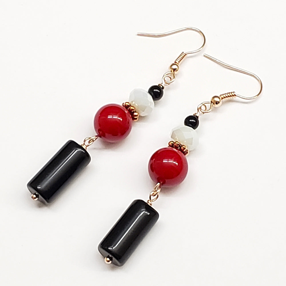 Trinidad-Inspired Black Onyx Red Coral and Crystal Earrings with Rose Gold Findings