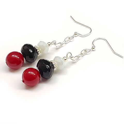 Trinidad-Inspired Red Coral Black Onyx Crystal Earrings with chain and silver tone findings