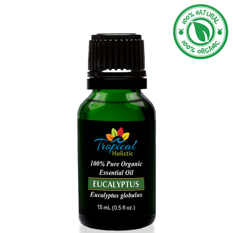 Tropical Holistic EUCALYPTUS GLOBULUS 100% Pure Organic Essential Oil 15mL (0.5OZ)