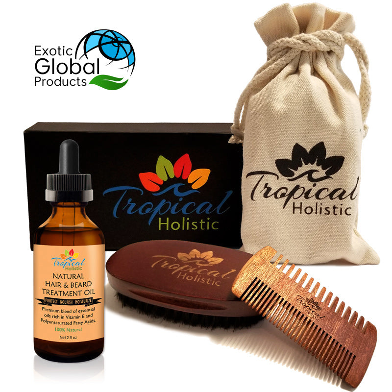 Tropical Holistic Premium Men's Beard Kit with Natural Beard Oil 2oz