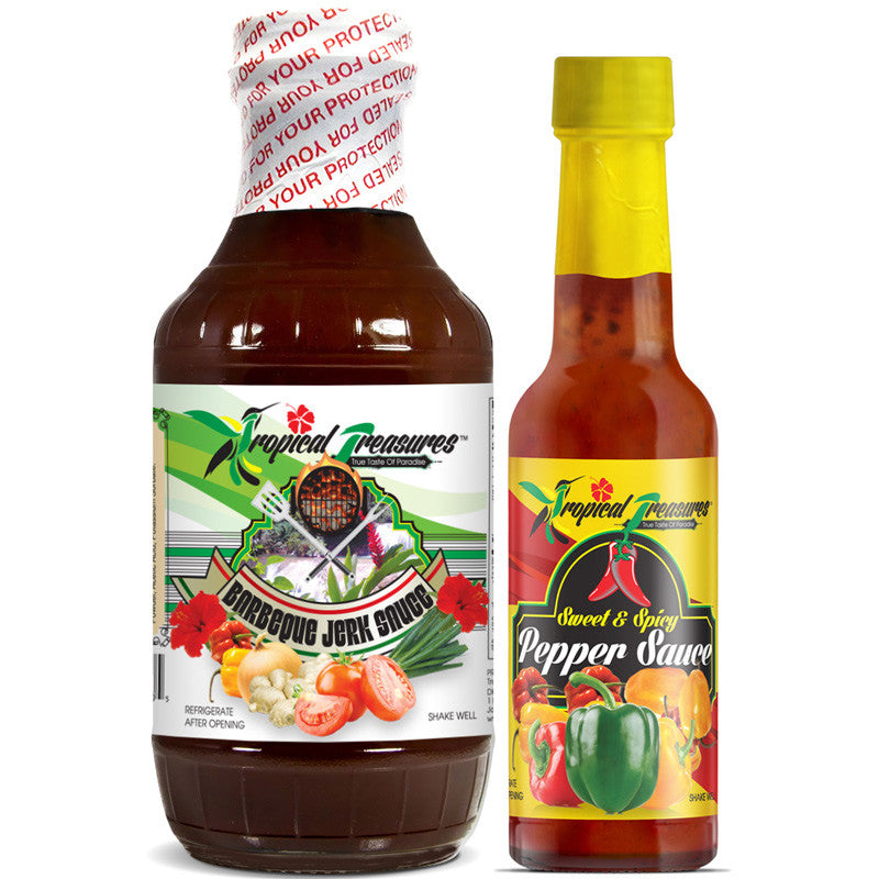 Tropical Treasures Jamaican Barbeque Jerk Sauce 16oz and Sweet & Spicy Pepper Sauce 4.8oz 2-Pack