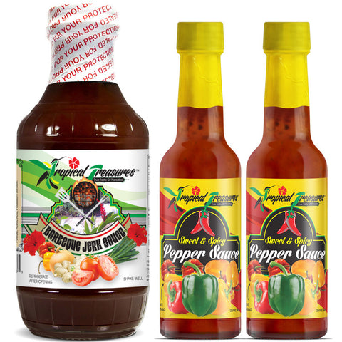 Tropical Treasures Jamaican Barbeque Jerk Sauce 16oz and Sweet & Spicy Pepper Sauce 4.8oz 3-Pack