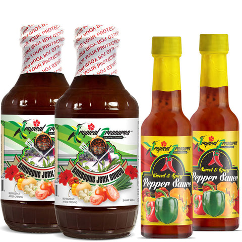Tropical Treasures Jamaican Barbeque Jerk Sauce 16oz and Sweet & Spicy Pepper Sauce 4.8oz 4-Pack