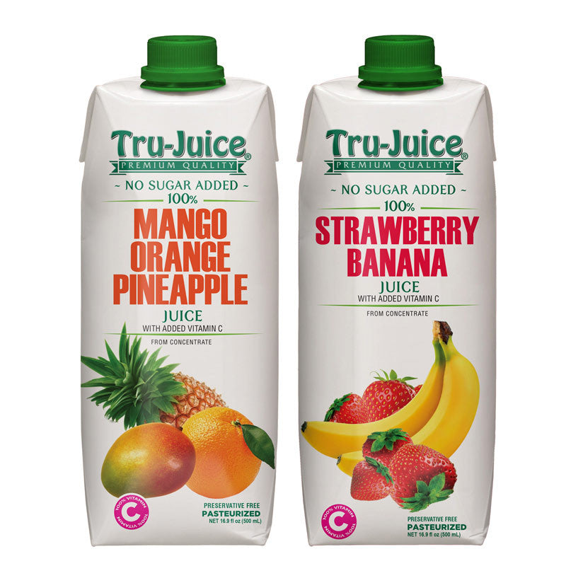 Tru-Juice 100% Mango Orange Pineapple & Strawberry Banana Juice 16.9 fl oz (500 mL) Tetra Pak - 2 Pack