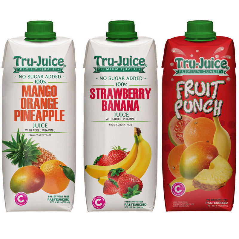 Tru-Juice Mango Orange Pineapple & Strawberry Banana and Fruit Punch 16.9 fl oz (500 mL) Tetra Pak - 3 Pack