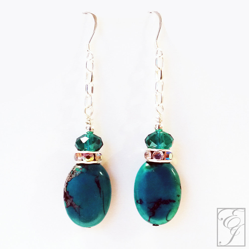 Turquoise and Swarovski Crystal Earrings 2