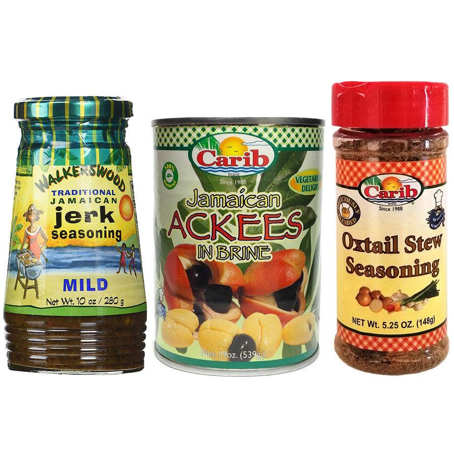Walkerswood Jamaican MILD Jerk Seasoning Carib Ackees and Oxtail Stew Seasoning (Pack of 3)