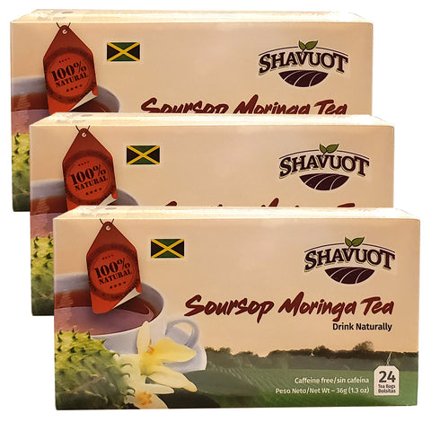 Shavuot Soursop Moringa Tea 24 Tea Bags (Pack of 3)