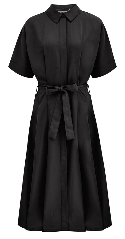 ASHES KIMONO Tencel Wrap Dress Coal