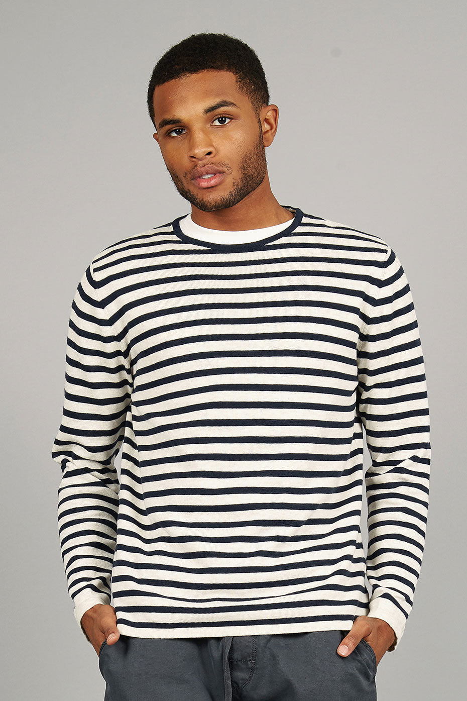 CHARLIE Organic Cotton Jumper Ink Stripe