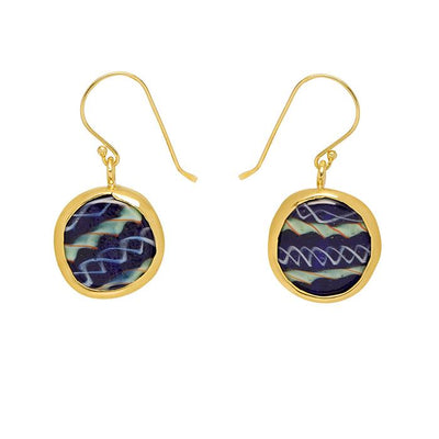 FAIRTRADE BEZELED EARRINGS BLUE GLASS