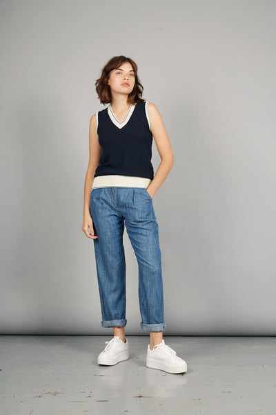 LILA Tencel Linen Trousers Indigo Wash - Komodo Fashion
