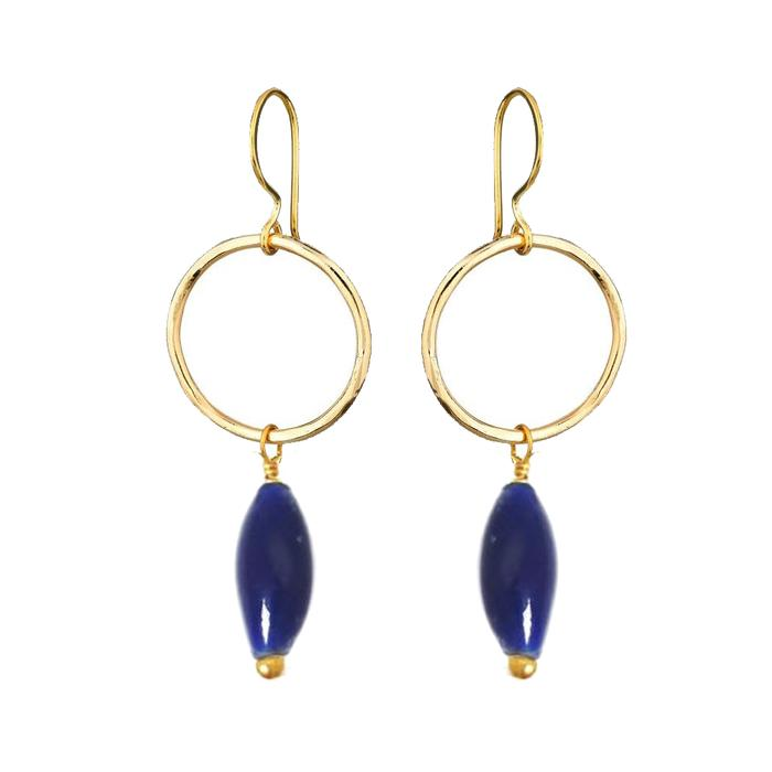 JACQUI EARRINGS RECYCLED GLASS MARINE BLUE