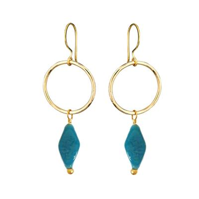 JACQUI EARRINGS RECYCLED GLASS TEAL BLUE