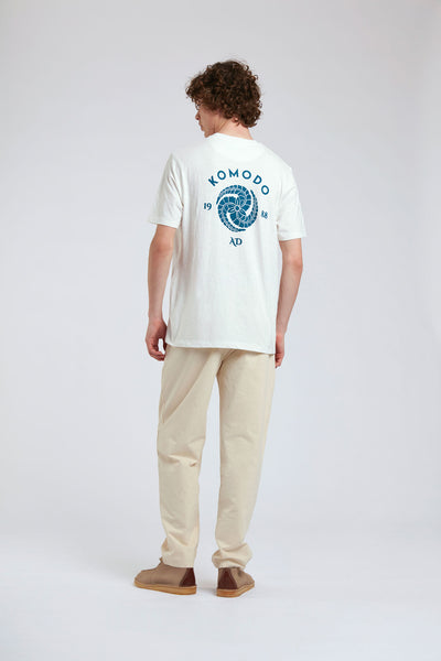 KIN - CREST - GOTS Organic Cotton Tee Off White & Blue