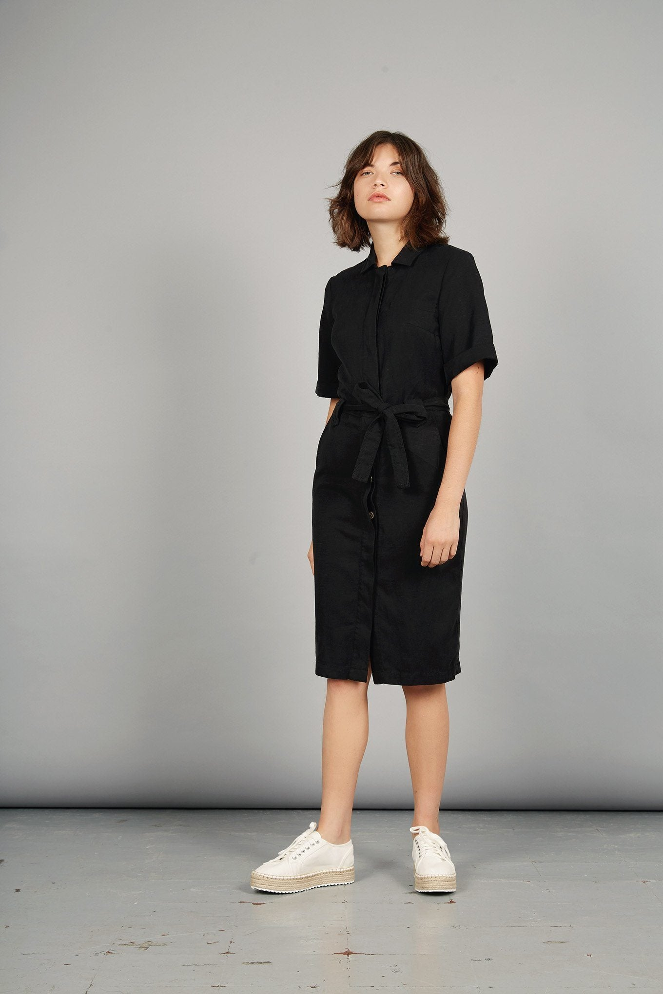 LINLIN Tencel Linen Shirt Dress Coal - Komodo Fashion