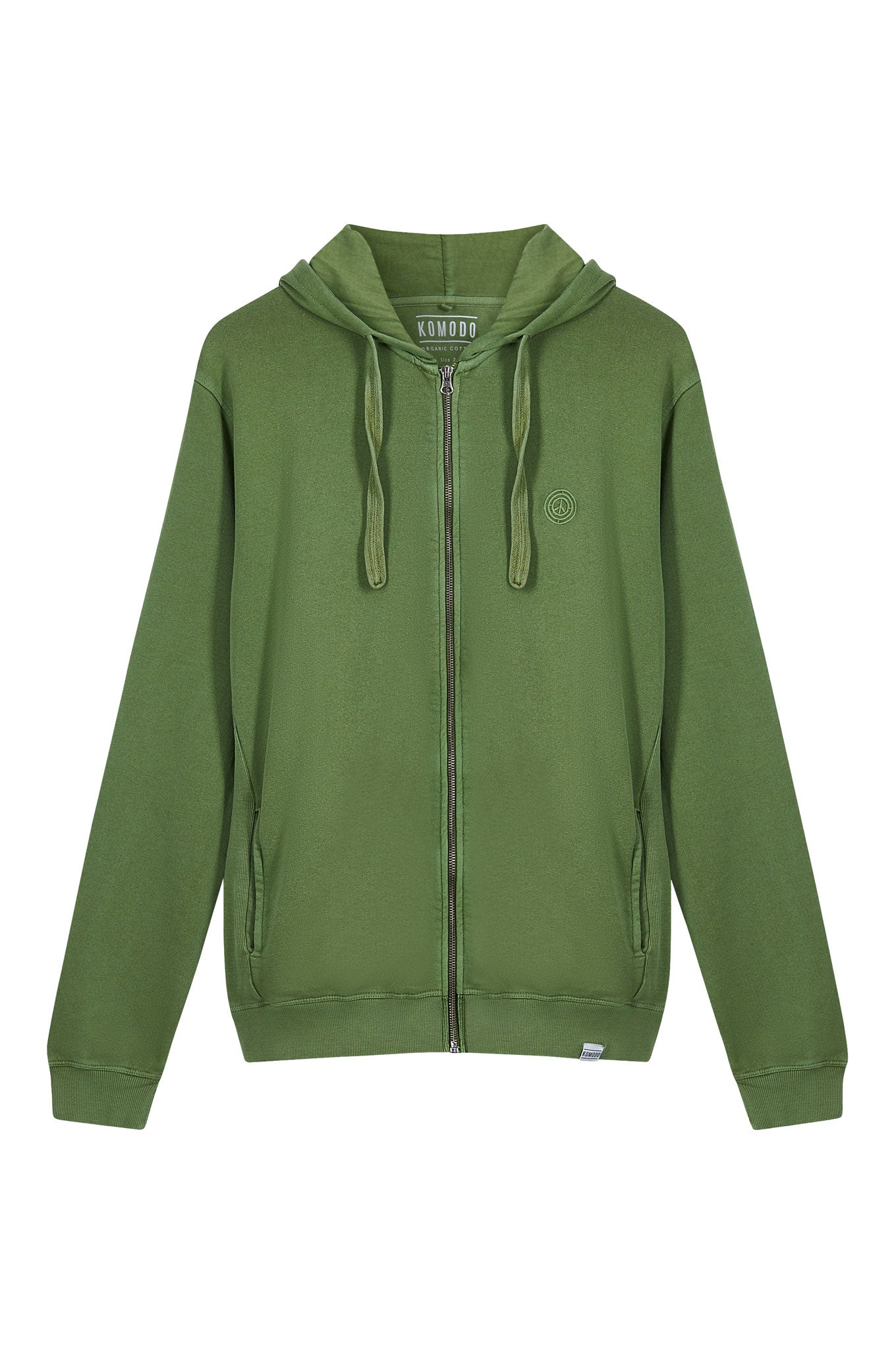 APOLLO Mens Organic Cotton Zip Hoodie Olive