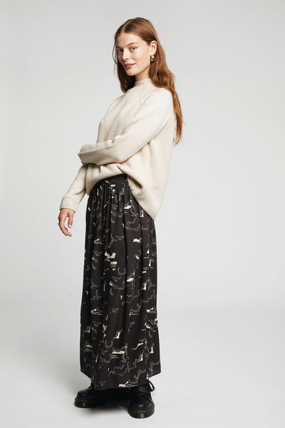 NEPALI CLOUD Rayon Parklife Skirt Black