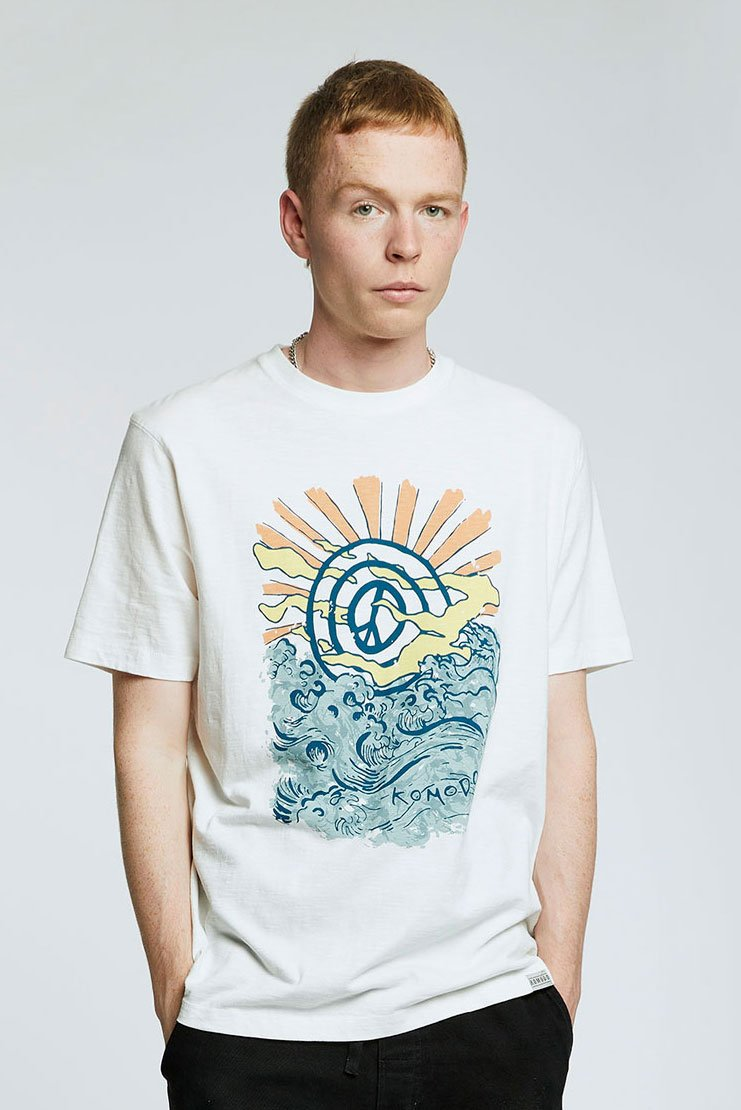 KIN - PEACE WAVE - GOTS Organic Cotton Tee Off White