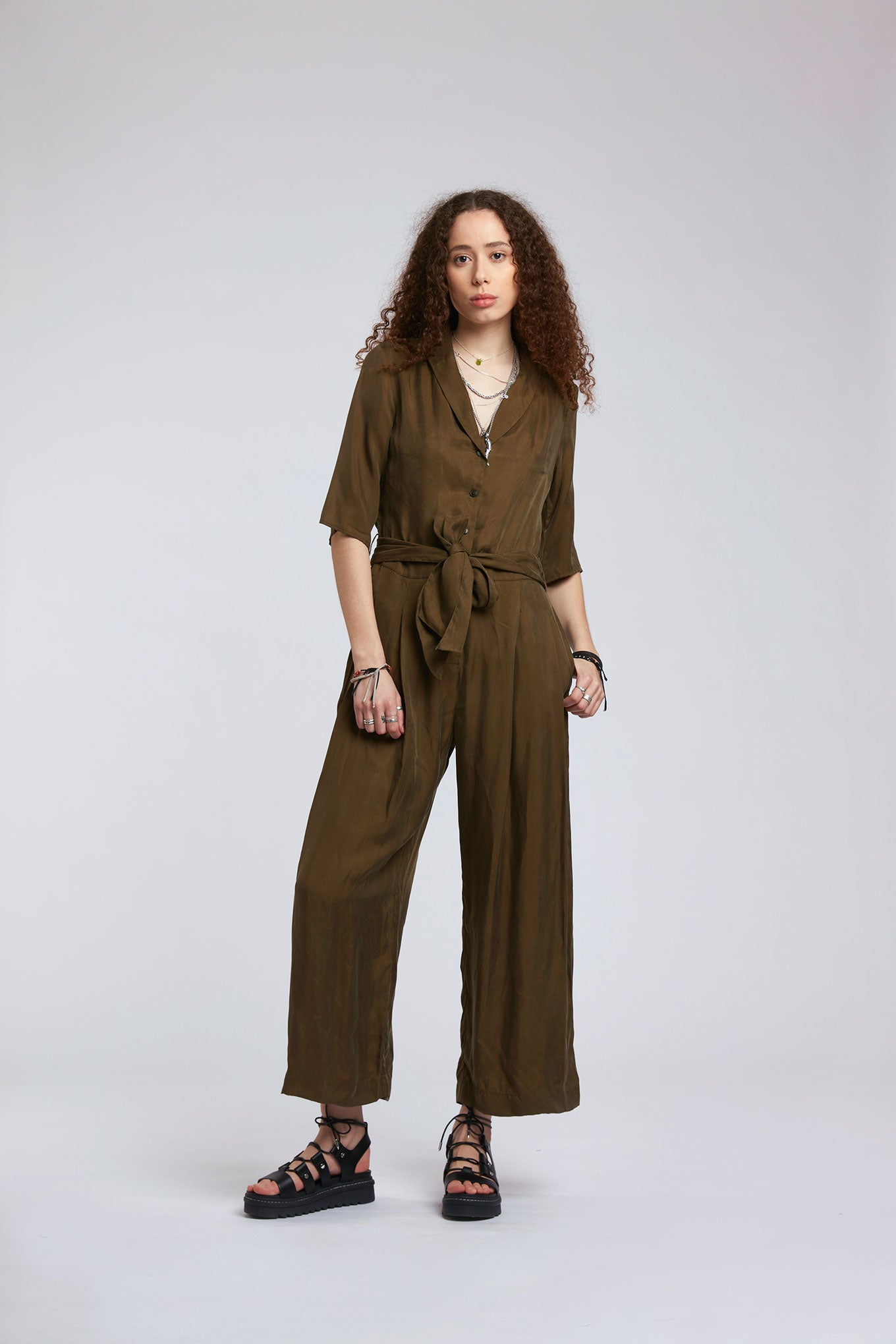 PLANET Cupro Jumpsuit Khaki