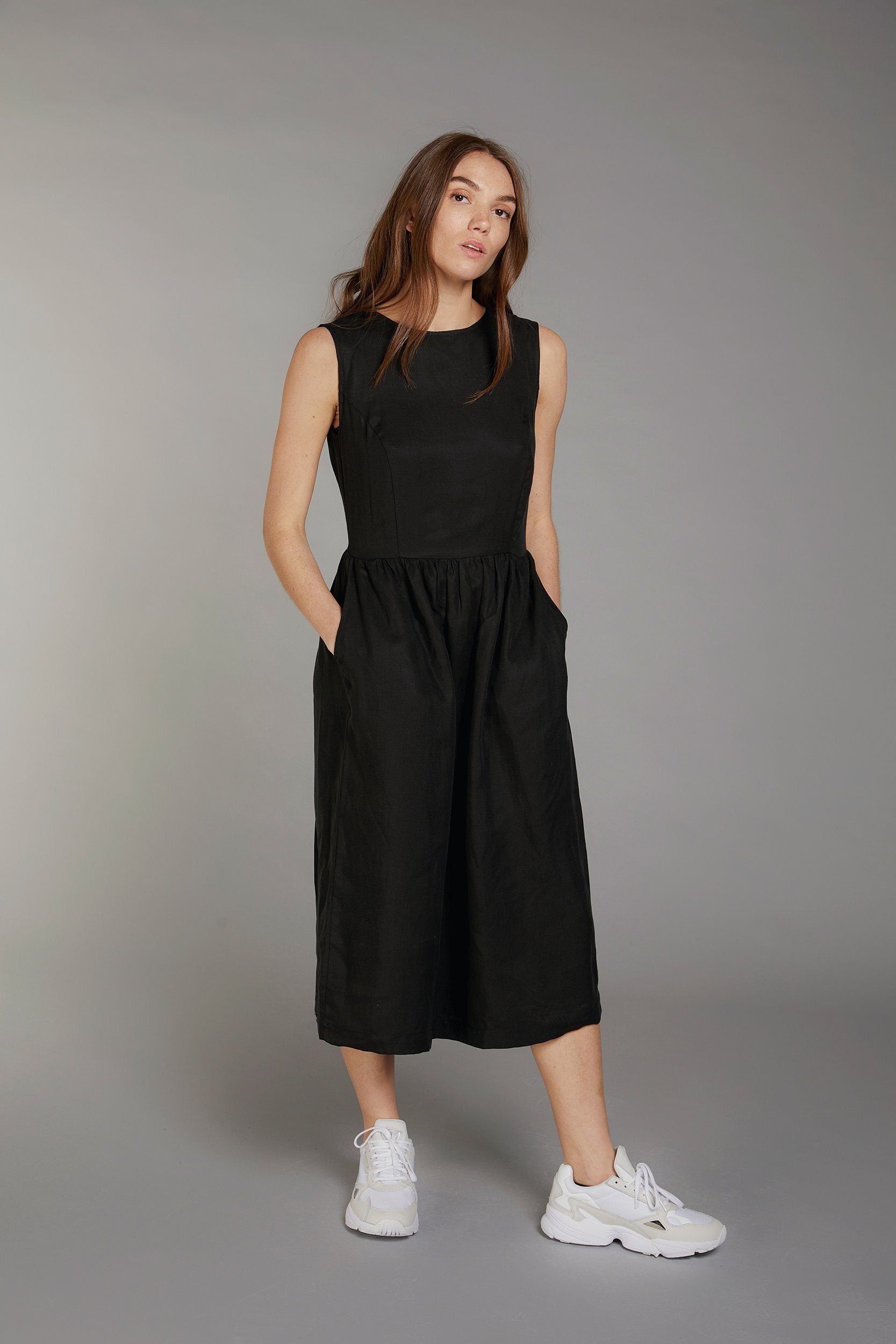 PRIMROSE Tencel Linen Dress Coal - Komodo Fashion