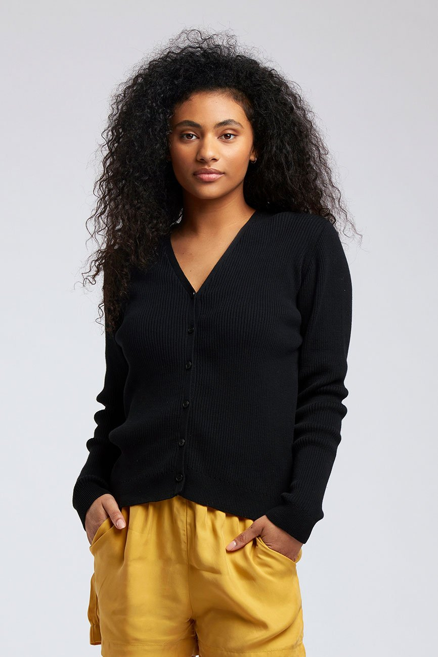 SASHA - GOTS Organic Cotton Cardigan Black