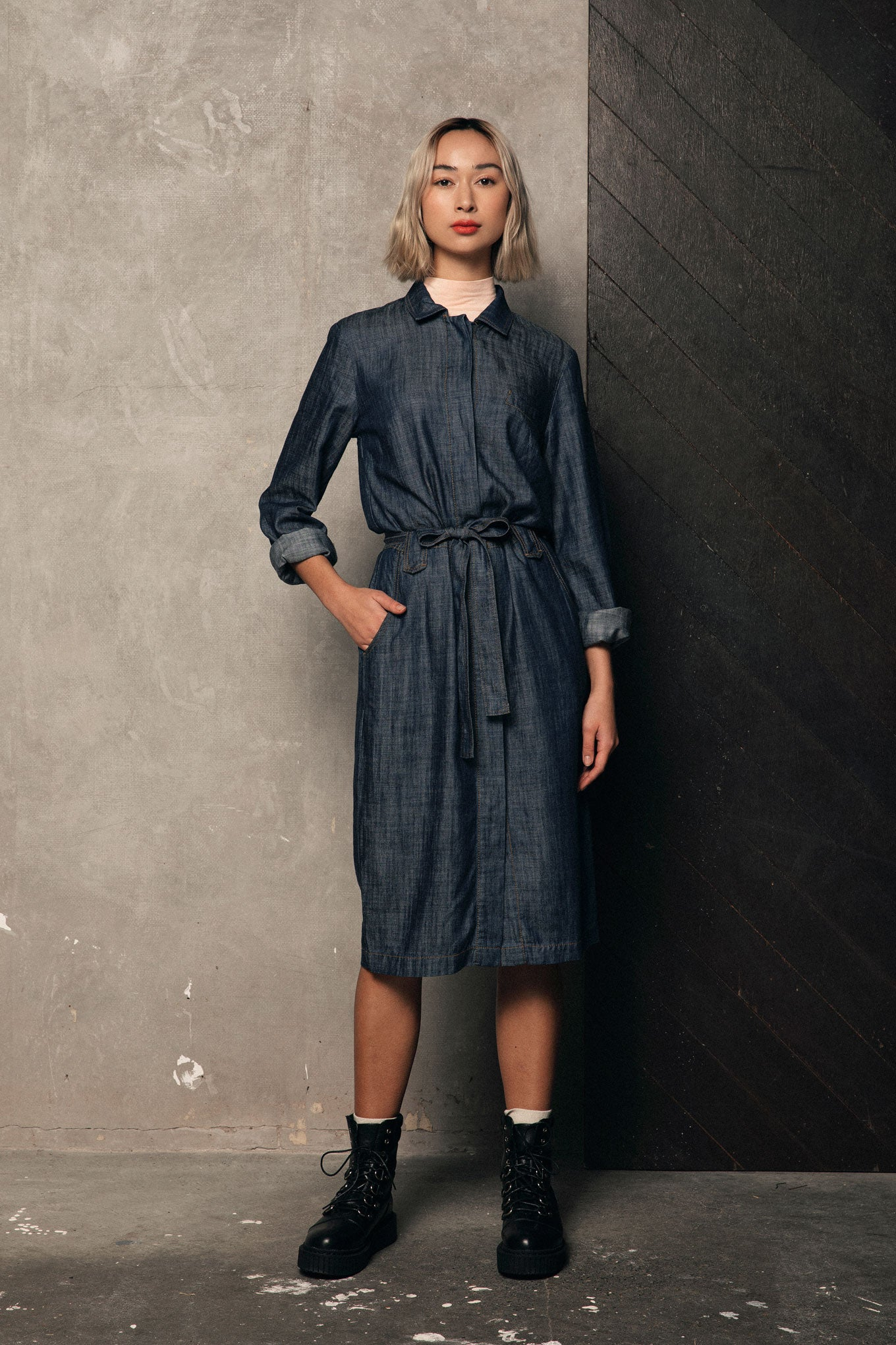 SUNNY Tencel Shirt Dress Dark Indigo