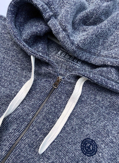 SYDNEY - GOTS Organic Cotton Zip Through Indigo Melange