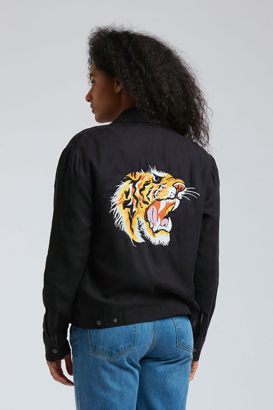 TIGER BLAZE Cupro Jacket Black Coffee