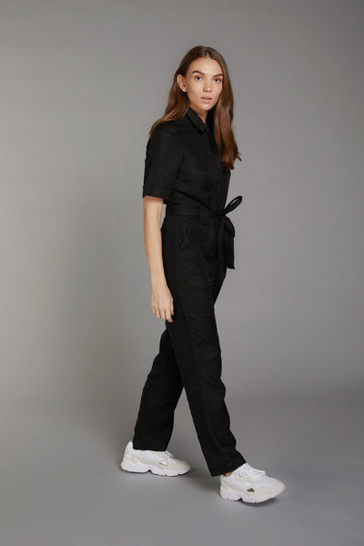 TRAPEZE Tencel Linen Jumpsuit Coal - Komodo Fashion